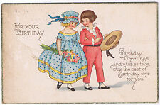 For Your Birthday  Vintage Alpha Publishing Postcard  Children Design 1932 Stamp