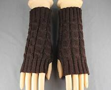 Dark Brown cable knit arm warmer fingerless gloves warmers open thumb texting