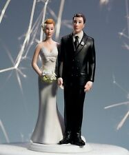 Love Pinch Caucasian Couple Funny Wedding Cake Topper