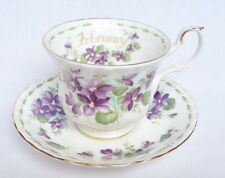 Royal Albert flor del mes de febrero Taza y Platillo-China