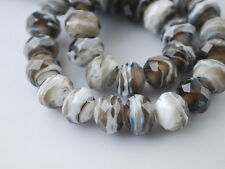 10pcs Grey/White Glass Stripe Lampwork Beads Spacer Craft Jewelry Findings 12mm
