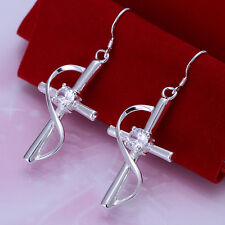 wholesale sterling solid silver fashion rhinestone cross drop Earrings XCSE194