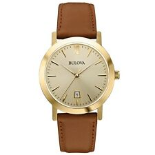 Bulova 97B135 Mens Dress Brown Leather Strap Watch