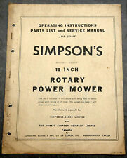1950's Simpsons-Sears 8TH10S Canada Lawn Mower Owner's Manual Johnson Evinrude