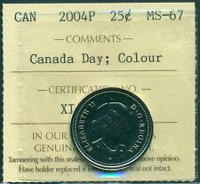 2004P Canada Day;Colour 25 cent ICCS MS 67