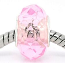 Pink Faceted Crystal October Birthstone Glass Bead fits European Charm Bracelets