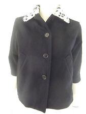 SISLEY Womens 3/4 sleeve Black Basic Jacket with White collar size S