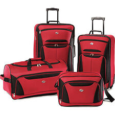 American Tourister Fieldbrook II Four-Piece Luggage Set (Red/Black)