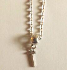 collier chaine argenté 46,5 cm avec pendentif lettre T 16x7 mm