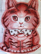 Vtg 70s fabric panel PINK RED Charlie Kitty Cat Cut Sew