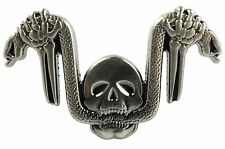 SNAKE HANDLEBARS SKULL German Iron Cross Harley Biker Hat Jacket Vest Lapel PIN