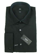 BOSS BLACK Hemd Jacques in 37 ( Slim Fit ) black mit Umschlagmanschette TWO PLY