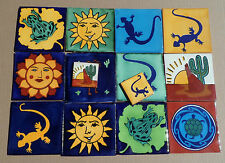 "6 Talavera tiles mural Southwest Astronomy 4"" hand made Cactus Sun Stars Indian"