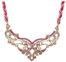 Betsey Johnson Imperial Pink Scroll Crystals Frontal Necklace  NWT