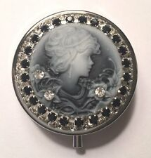 ~Vintage Look Cameo Beauty~ Black & White Crystal Rhinestone Round Pill Box! USA