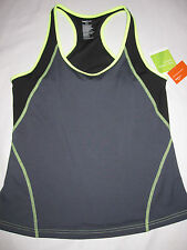 NWT Womens GAP BODY Gray Black Yellow Workout Top Sz XL XLarge