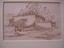 Theron Trombeau New Mexico Artist Pen & Ink PAINTING OLD ADOBE LA LUZ NM