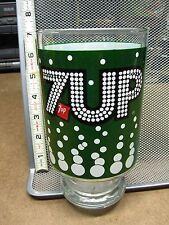 7-UP vtg jumbo glass soft-drink pop lemon-lime soda 1970s pop-art bubbles goblet