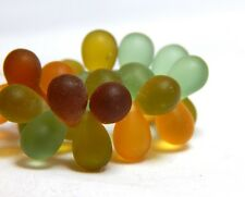 25 6x8mm Matte Teardrop Beads Earth Tones Raindrop Shaped Czech Beads T-100E