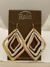Hammered Diamond Shaped Gold/Silver Drop Hook Earrings By Rain