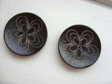 10 pcs Large Brown Patterned Wood  Scrapbooking // Sewing Buttons   30mm