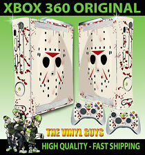 XBOX 360 ORIGINAL JASON VOORHEES MASK BLOODY STICKER SKIN COVER & 2 PAD SKINS