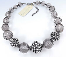 M. Haskell Hematite-Tone Chunky Smokey Bead Crystal Fireball Necklace
