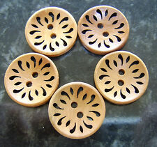 5 Medium Wooden Brown Boho Hollow Flower Buttons 23mm