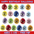 HAPPY BIRTHDAY BALLOONS AIR FILL AGES 1-100 MIXED COLOURS PACKS OF 10
