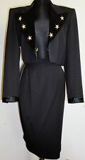 ESCADA Vintage Tuxedo Suit 6 Black Pencil Skirt Bolero Jacket Rhinestones Stars