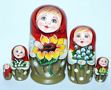 5 RUSSIAN NESTING STACKING /MATRYOSHKA DOLLS/GIRL WITH SUNFLOWER/17.0cm/6.8''