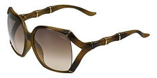 GUCCI GG 3508/S 23DJD Square Oversized Brown Gold Bamboo Women Sunglasses