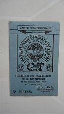 CARTE CONFEDERALE CGT 1949 FEDERATION DE LA METALLURGIE