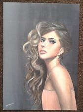 Original Acrylic Painting Beautiful Woman Portrait Haunting Girl A3 Erotic Girl