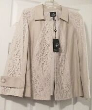 Faux Leather and Lace Ivory Beige Jacket Size 12 by Adrianna Papell Coat NWT