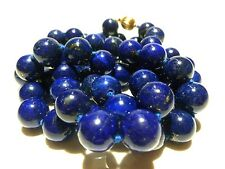"MASSIVE 12mm LAPIS LAZULI BEAD BEADED 33""+ 14K GOLD WOMENS NECKLACE"