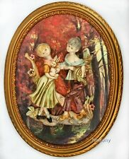 "GOLD GILT FRAME FONTANINI Plaque 16"" 3-D RELIEF Boy & Girl in Forest~Bunny~ITALY"