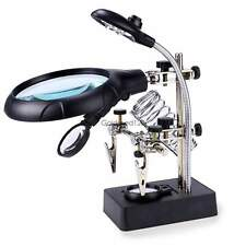 US Free Helping Hand Soldering Stand With LED Light Magnifier Magnifying Glass