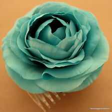 "3 1/2"" Turquoise Ranunculus Silk Flower Hair Comb, Wedding.Prom,Dance,Party"