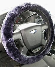 Zone Tech Sheepskin Plush Stretch On Vehicle Car Steering Wheel Cover Gray
