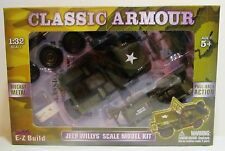 1:32 Classic Armour Jeep Willys Scale Diecast Metal Model Kit Toy WWII Replica