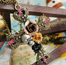 Jewelry Retro Fashion Silver Necklace Pendant Cross Skull Flower Sweater Chain