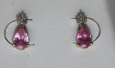10k Yellow Gold  Lab Created 1 ct Pink Sapphire and  Diamond Earrings