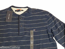 Men's Tommy Hilfiger long sleeve ribbed shirt L large 7841295 410 Masters Navy