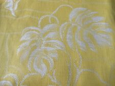Antique Vintage French Yellow Palm Leaf Ticking Cotton Linen Damask Fabric ~