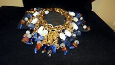 RARE Oversized Couture French Courreges Festoon stone & glass necklace estate