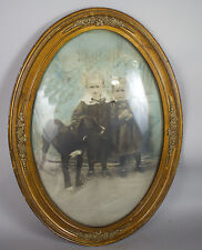 SWEET STORY! Antique Children w/ Dog Domed Convex Bubble Glass Frame Photograph