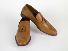 New SUTOR MANTELLASSI Brown Leather Tassel Loafers Shoes Size 9 US/42 EU $850
