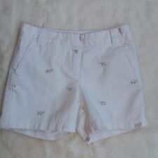 J Crew Glitter Critter Chino Shorts 2 White Silver Elephants City Fit 5 in insm