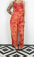 Jumpsuit Dungarees UK 16 approx. (Oversized 14) 1990's Tie Dye Print 90's ( 3AJ)